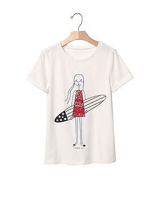 GAP Girls White Embellished Graphic Tee