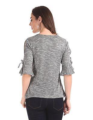 Cherokee Grey Short Bell Sleeve Patterned Top