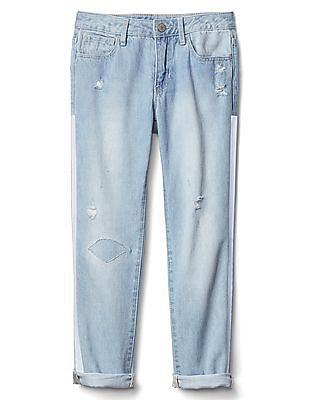 GAP Girls Blue 1969 Side Stripe Girlfriend Jeans