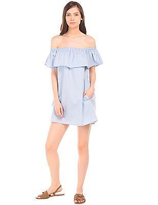 Aeropostale Off Shoulder Ruffled Mini Dress