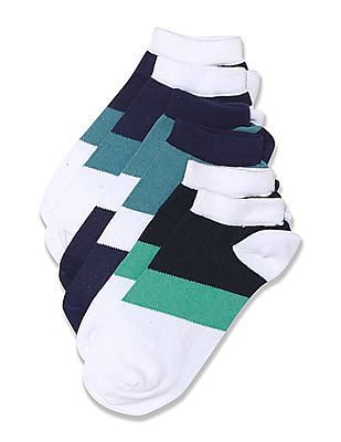 U.S. Polo Assn. Colour Block Ankle Length Socks - Pack Of 3