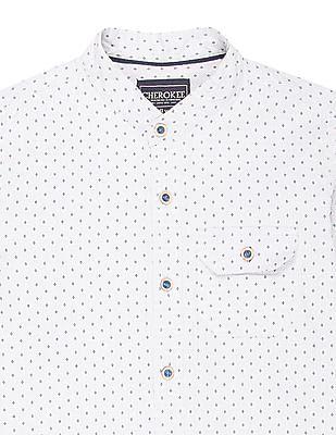 Cherokee Boys Patterned Weave Mandarin Collar Shirt