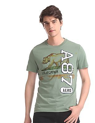 Aeropostale Green Bear Graphic Crew Neck T-Shirt