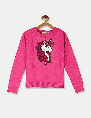 The Children's Place Girls Pink Unicorn Flippy Sequin Metallic Knit Sweater