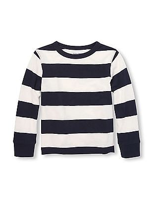 The Children's Place Toddler Boy White Long Sleeve Rugby Stripe Top