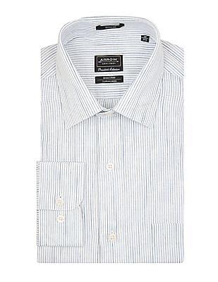 Arrow Striped Cotton Linen Shirt