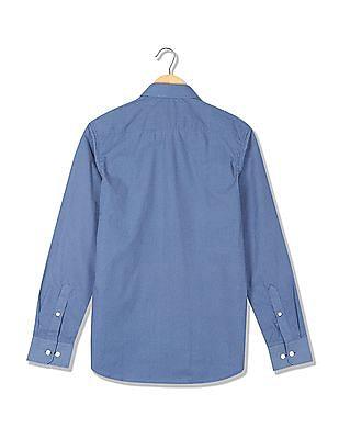 USPA Tailored Slim Fit Geometric Print Shirt