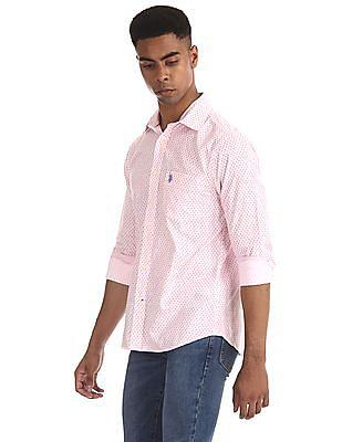 U.S. Polo Assn. White Floral Print Round Cuff Shirt