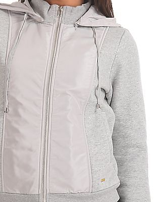Elle Detachable Hood Panelled Sweatshirt