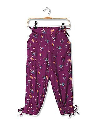 Cherokee Girls Bow Trims Floral Print Pants