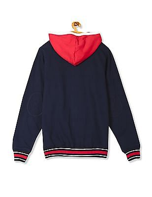 Flying Machine Colour Block Hooded Sweatshirt