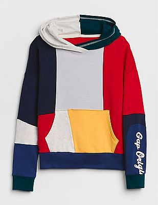 GAP Girls Colourblock Logo Hoodie Sweatshirt