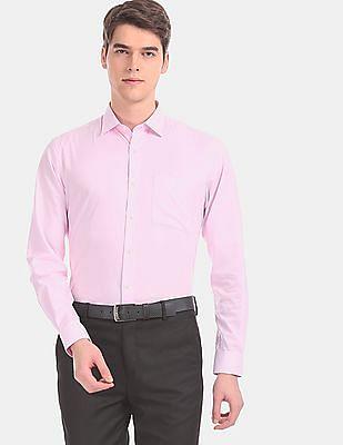 Arvind Men Pink French Placket Solid Formal Shirt