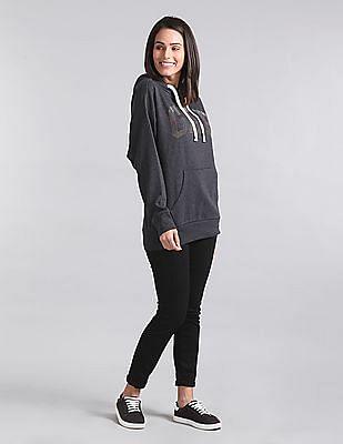 GAP Women Grey Studded Hooded Sweatshirt