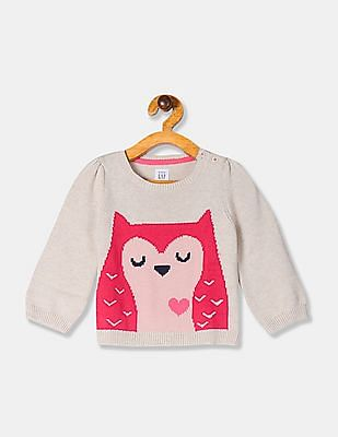 GAP Beige Baby Girl Owl Graphic Crew Neck Sweater