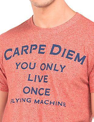 Flying Machine Heathered Printed T-Shirt