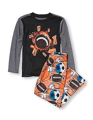 The Children's Place Boys Long Sleeve Football Explosion Graphic Top And Multiple Sports Ball Print Pants PJ Set