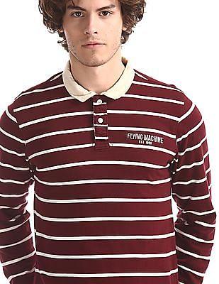 Flying Machine Red Regular Fit Stripe Polo Shirt