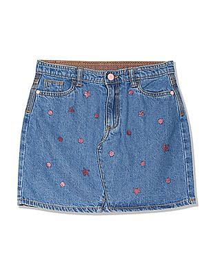 U.S. Polo Assn. Kids Girls Glitter Print Denim Skirt