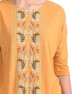 Cherokee Floral Print Extended Sleeve Top