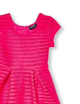 The Children's Place Girls Cap Sleeve Striped Mesh Flare Dress