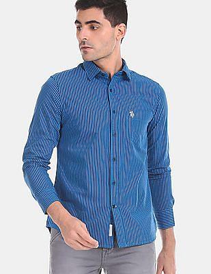 U.S. Polo Assn. Men Blue Vertical Stripe Cotton Shirt