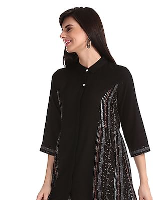 Bronz Black Spread Collar Princess Panel Tunic