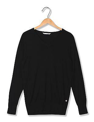 U.S. Polo Assn. Women V-Neck Long Sleeve Sweater