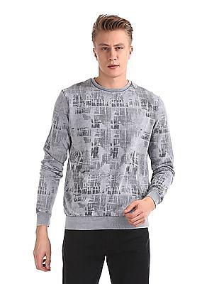 Cherokee Grey Crew Neck Printed Sweatshirt