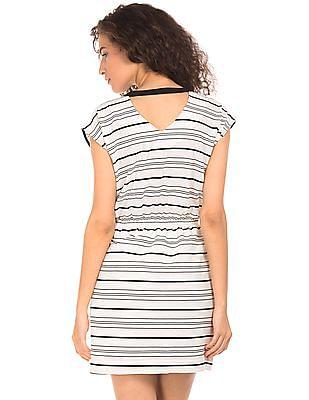 Elle Tie Neck Striped Dress