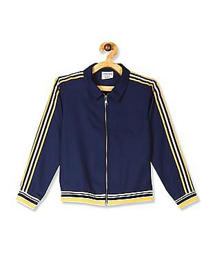 Cherokee Blue Girls Sleeve Tape Zip Up Jacket