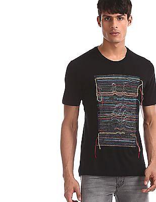 Colt Black Crew Neck Embroidered T-Shirt