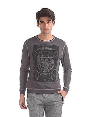 Flying Machine Grey Crew Neck Graphic Print Sweatshirt