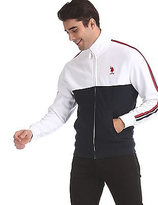 U.S. Polo Assn. White Sleeve Tape Colour Block Sweatshirt