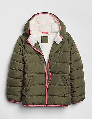 GAP Green Girls Cold Control Max Puffer Jacket