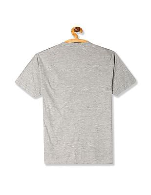 Flying Machine Grey V-Neck Chest Pocket T-Shirt