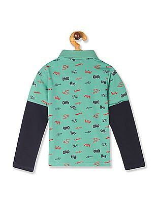 Cherokee Green Boys Doctor Sleeve Printed Polo Shirt