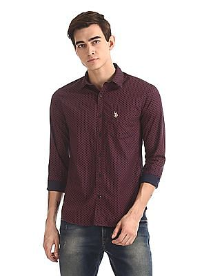 U.S. Polo Assn. Rounded Cuff Printed Shirt