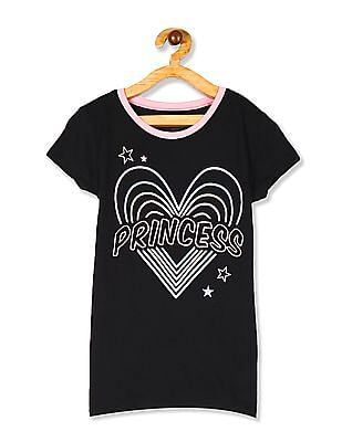 The Children's Place Black Girls Short Sleeve Glitter 'Princess' Heart Graphic Tee
