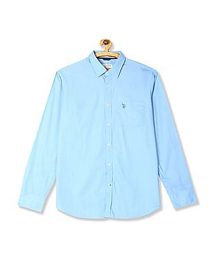 U.S. Polo Assn. Blue Rounded Cuff Solid Shirt