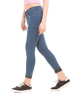 Flying Machine Women Low Rise Enzyme Wash Skinny Fit Jeggings