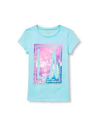 The Children's Place Girls Blue Short Sleeve Glitter 'LA' Graphic Tee