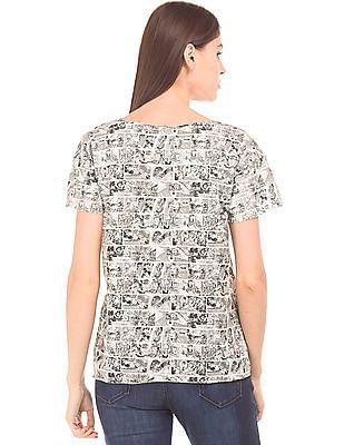 Flying Machine Women Comic Print Raw Edge T-Shirt