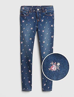 GAP Girls Superdenim Floral Super Skinny Jeans With Fantastiflex