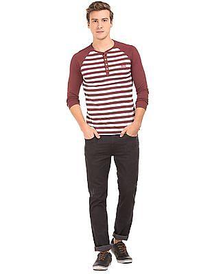 Cherokee Raglan Sleeve Striped Henley T-Shirt