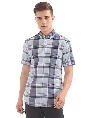 Gant Blue Pack Madras Regular Short Sleeve Popover Shirt