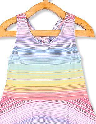 The Children's Place Toddler Girl Sleeveless Printed Keyhole Knit Racer-Back Dress