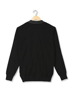 Flying Machine Solid Zip Up Sweater