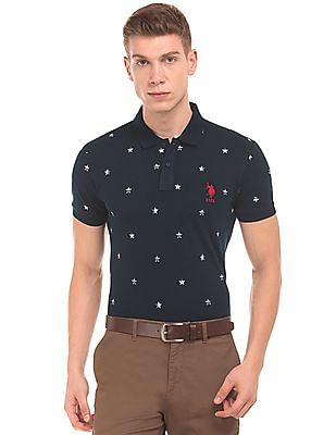 U.S. Polo Assn. Star Print Slim Fit Polo Shirt
