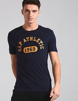 GAP Blue Brand Print Crew Neck T-Shirt